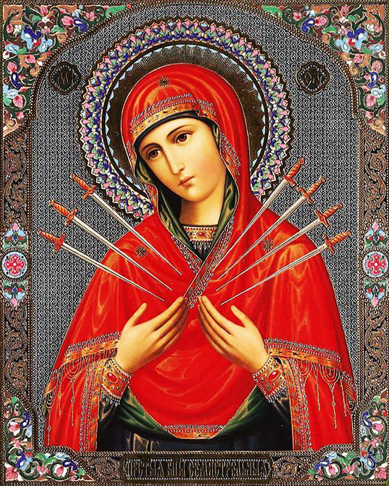 Алмазная вышивка мозаика Чарівний діамант икона Богородица Семистрельная КДИ-0591 40х50см 26цветов квадратные