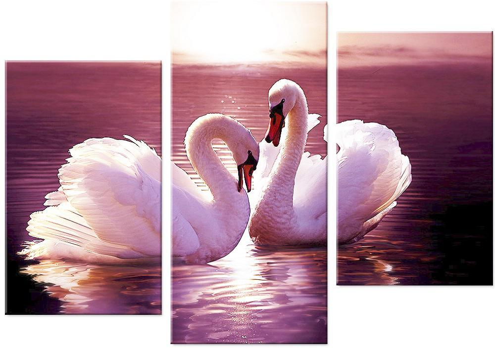 """Набор алмазной вышивки триптих """"Пара прекрасных лебедей"""""""