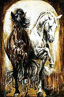 Алмазная вышивка мозаика Чарівний діамант Пара прекрасных лошадей КДИ-0738 60х90см  Худ.Elise Genest 24цветов