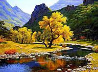 Алмазная вышивка мозаика Чарівний діамант Осенний горный пейзаж КДИ-0826 40х55см 29цветов квадратные полная