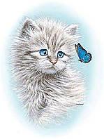 Алмазная вышивка мозаика Чарівний діамант Котенок с бабочкой КДИ-1075 30х40см 12цветов квадратные полная