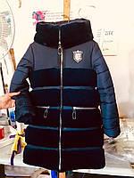 Теплая красивая  куртка с искусственным мехом на зиму для девочки интернет магазин