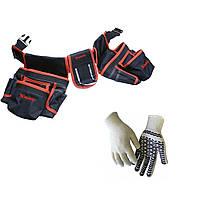 Сумка-пояс слесарно строительная, двойная, 20 карманов, держатель для молотка MTX 902409