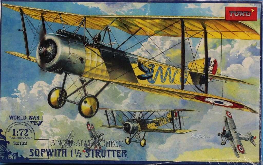Sopwith 1½ Strutter. Сборная модель бомбардировщика-биплана в масштабе 1/72. TOKO 139