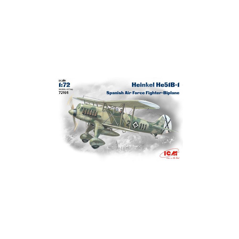 НЕ-51 В-1, ИСТРЕБИТЕЛЬ-БИПЛАН ВВС ИСПАНИИ. 1/72 ICM 72191