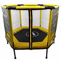 Батут Atleto 140 см шестикутний з сіткою жовтий | Батут Atleto 140 см шестиугольный с сеткой желтый, фото 1