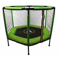 Батут Atleto 140 см шестикутний з сіткою зелений   Батут Atleto 140 см шестиугольный с сеткой зеленый, фото 1
