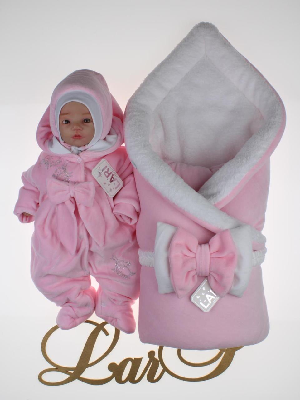 Зимний комплект на выписку для новорожденных девочек набор Бабочка