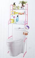 Полка-стеллаж напольный над унитазом 48х152 см ABX WM-64 Розовый/Белый