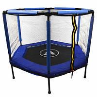 Батут Atleto 140 см шестикутний з сіткою синій | Батут Atleto 140 см шестиугольный с сеткой синий, фото 1