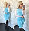 Модное платье с гипюровыми рукавами