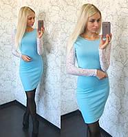 Модное платье с гипюровыми рукавами, фото 1