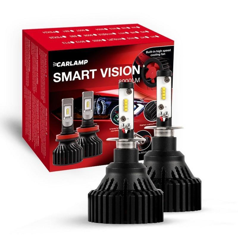 Светодиодные автолампы H3 CARLAMP LED Smart Vision Led для авто 6500 K 8000 Lm (SM3)