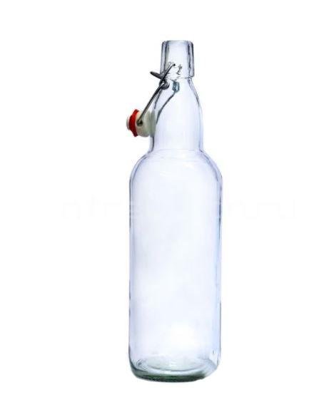 Пивная бутылка с бугельной крышкой, бесцветная 1 л