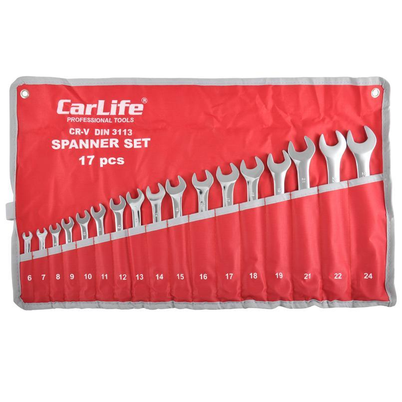 Набор ключей комбирированных CARLIFE CR-V 6-24 мм 17 шт (WR4217)