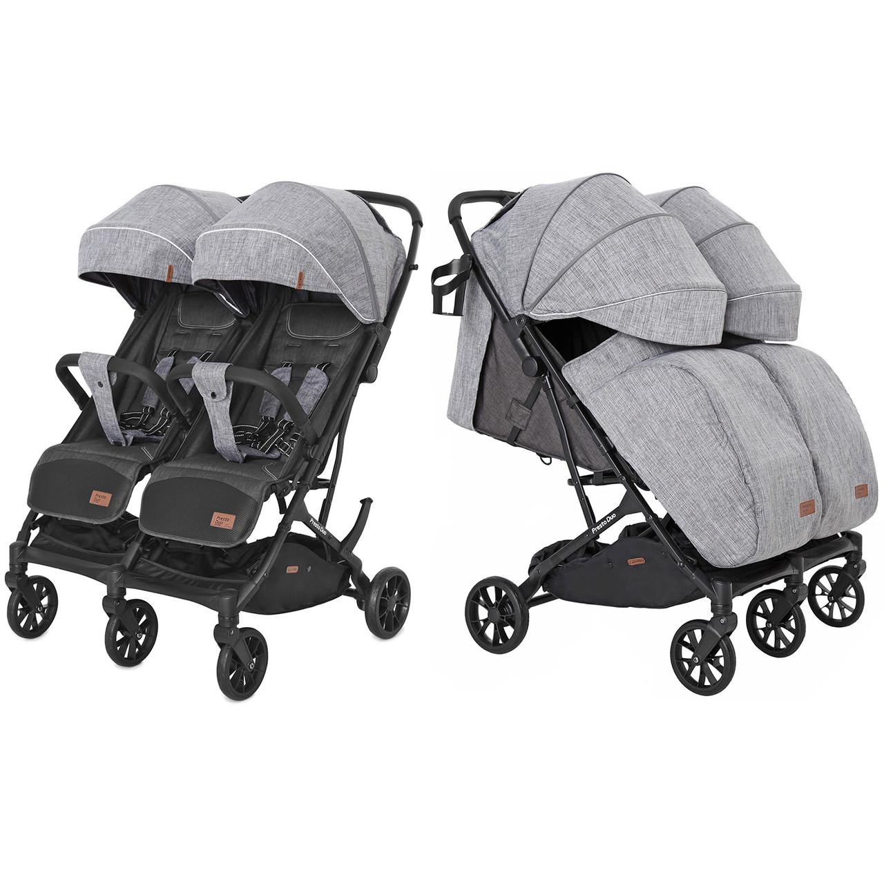 Коляска прогулочная CARRELLO Presto Duo CRL-5506 Pitch Grey +дождевик /1/ MOQ
