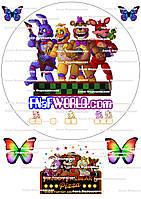 FNaF World Аниматроники Фнафворлд сахарная картинка корж наклейка на торт съедобная пищевая печать круглая