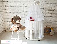 Детская кроватка трансформер белая из натурального дерева, матрасик трансформер и маятник
