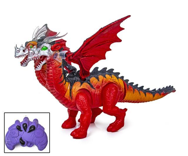 Іграшка дракон двоголовий на пульті управління червоний 929