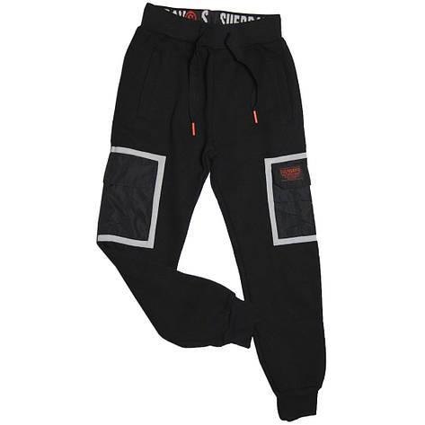 Стильные теплые спортивные штаны для мальчика 140 рост Венгрия черные, фото 2