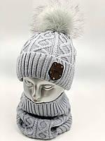 "Комплект шапка  и бафф для мальчика ""Ромбик"", на флисе, код КМФ5155, фото 1"