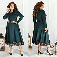Женское батальное однотонное трикотажное платье миди с поясом. 4 цвета!
