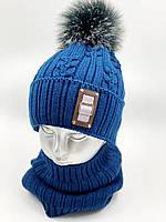 """Комплект шапка і бафф для хлопчика """"Колосок"""", на флісі, код КМФ5154, фото 1"""