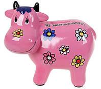 Скарбничка На заповітні мрії Рожева Корова 15 см, кераміка