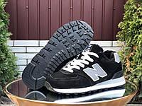 Женские зимние кроссовки замшевые New Balance чёрные, фото 1