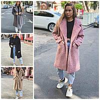 Уютное женское пальто демисезонное прямое из искусственного меха на кнопках 4 цвета с м л, фото 1