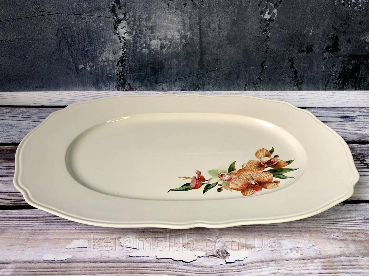 Блюдо № 38 белое с деколью 37 см