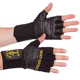 Перчатки для тяжелой атлетики кожаные GOLDS GYM BC-3603 размер S-XL черный