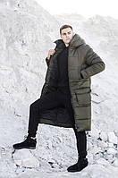 Стёганная мужская длинная очень тёплая зимняя куртка-пальто S M L XL в 3-х цветах
