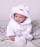"""Детский махровый костюм для новорожденных """"Белый мишка"""" размер от 74 до 86, фото 3"""