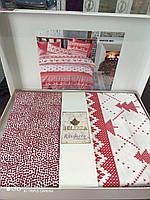 Winter Red Belizza - новогодний комплект постельного белья евро (ранфорс, 100% хлопок)