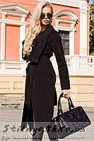 Пальто женское классическое на запах черное