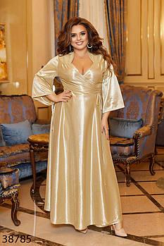 Роскошное вечернее платье на запах широкие рукава моделируются завязками с 48 по 64 размер
