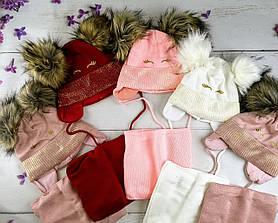 Комплект для девочек Зима Шапка с люрексом + хомут размер 48-50 Микс 2541(48-50) Vertex Украина