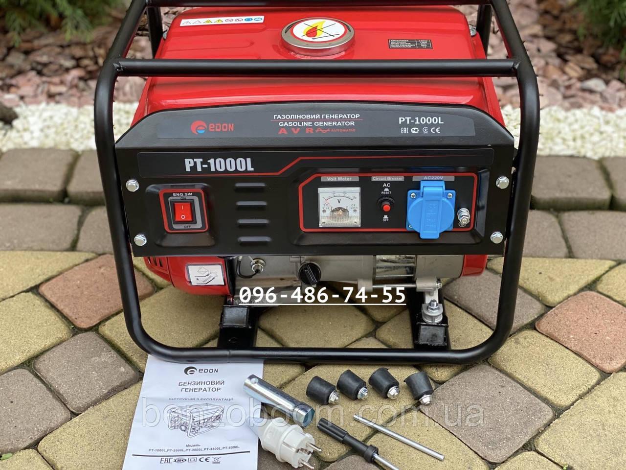 Генератор бензиновый Edon PT1000L медная обмотка электрогенератор 1кВт