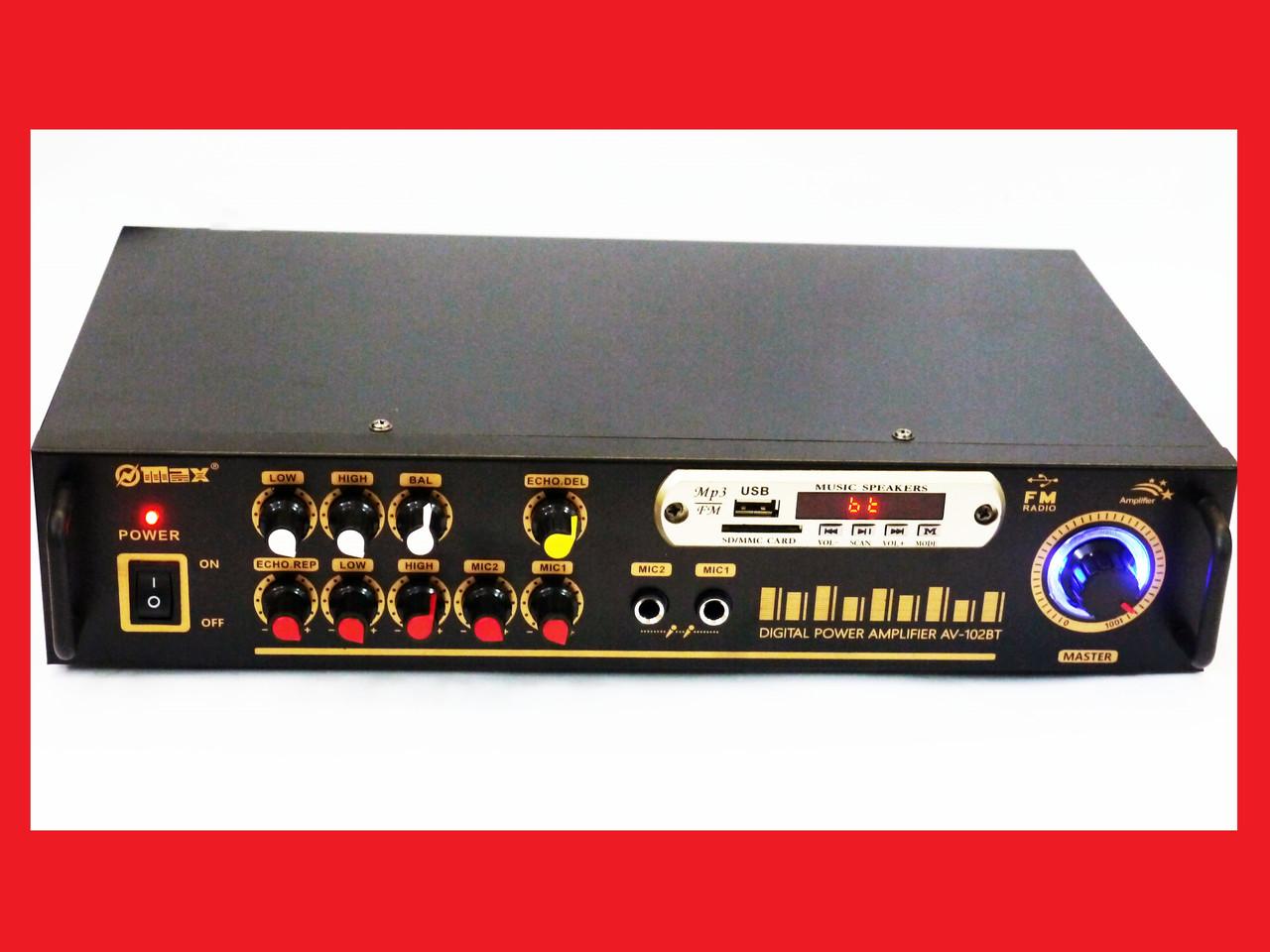 Усилитель звука Max AV-102BT Bluetooth USB + КАРАОКЕ 2микрофона