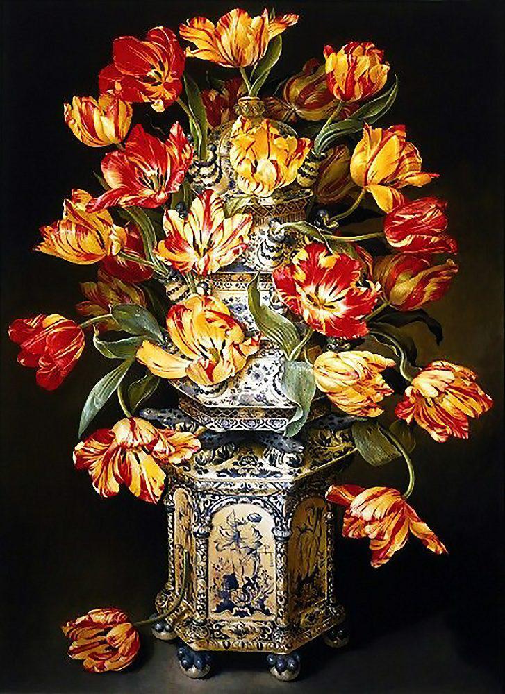 Алмазная вышивка мозаика Чарівний діамант Тюльпаны в вазе КДИ-0704 40х55см  Худ.Jоse Escofet 29цветов