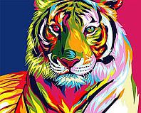 Алмазная вышивка мозаика Чарівний діамант Радужный тигр КДИ-0814 40х50см 20цветов квадратные полная