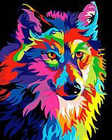 Алмазная вышивка мозаика Чарівний діамант Радужный волк КДИ-0813 40х50см 20цветов квадратные полная
