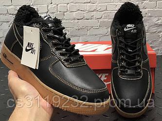 Чоловічі зимові кросівки Nike Air Force (хутро) (чорні)