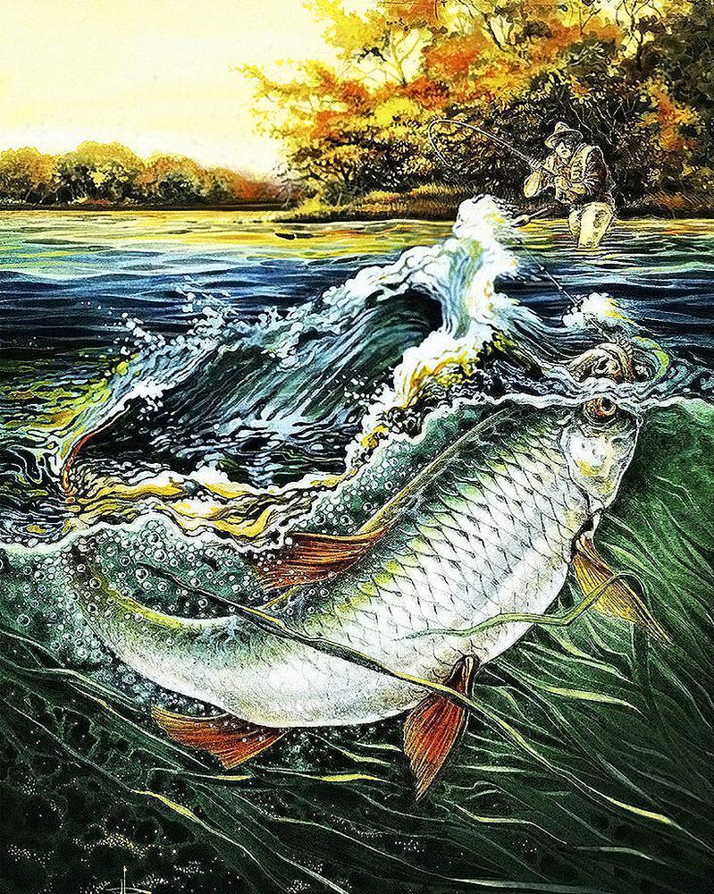 Алмазная вышивка мозаика Чарівний діамант Удачная рыбалка-2 КДИ-0477 40х50см 25цветов квадратные полная