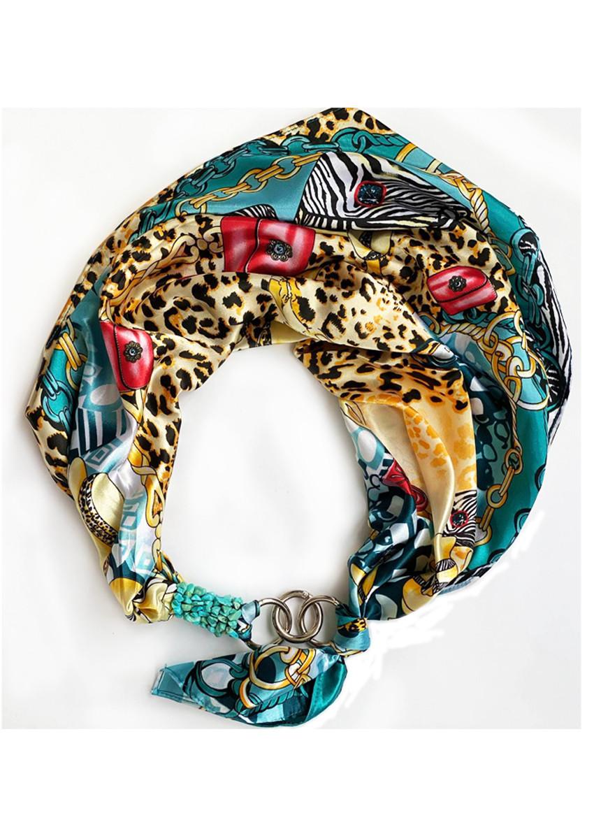 """Шовковий хустку my scarf """"Дика кішка"""", шийну хустку, подарунок жінці"""
