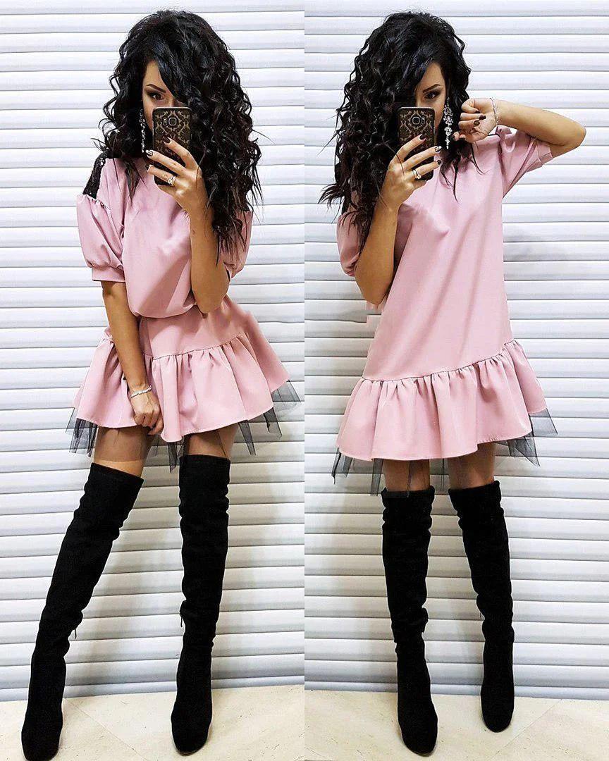 Платье кукольное свободного кроя с рюшей и пайетками
