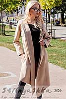 Пальто женское с капюшоном классическое на запах беж, фото 1
