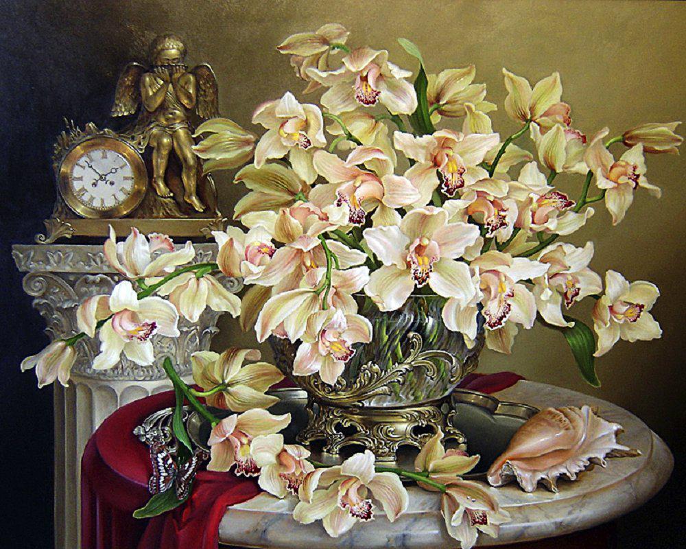 Алмазная вышивка мозаика Чарівний діамант Великолепие орхидей КДИ-0190 40х50см 30цветов квадратные полная