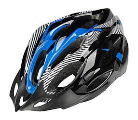 Шолом велосипедний з мигалкою з козирком Синій